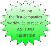 Among the first companies worldwide to receive AS9100D registration